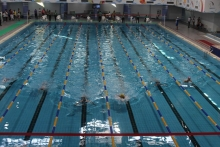 """Swimmers prepare to compete in the swimming pool complex """"20th Anniversary of Independence of Tajikistan"""" in Khujand"""